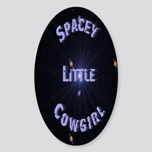 Spacey Little Cowgirl Oval Sticker