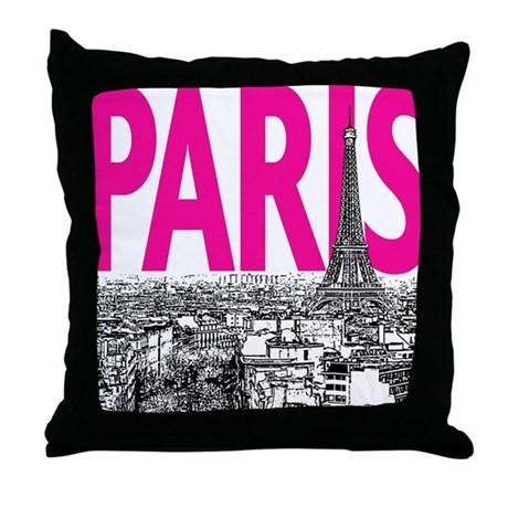 Paris Pink Throw Pillow