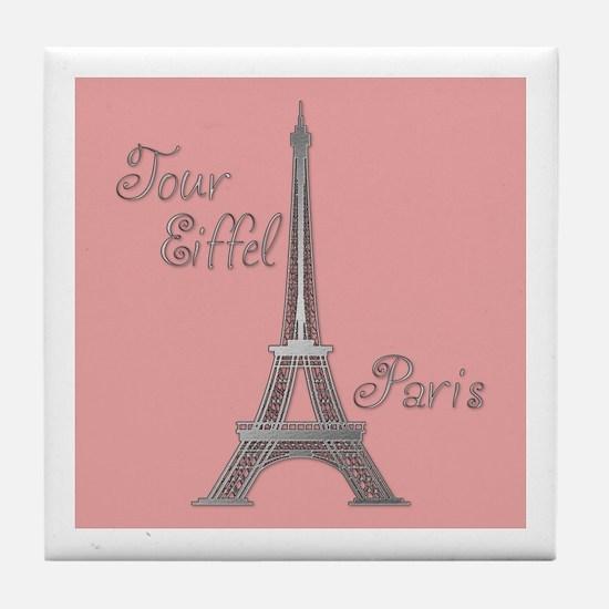 Tour Eiffel Pink Tile Coaster
