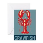 Crawfish In Red and Blue Greeting Card