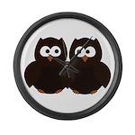 Unsure Owls Large Wall Clock