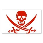 Pirates Red Sticker (Rectangle 50 pk)