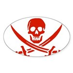 Pirates Red Sticker (Oval 50 pk)