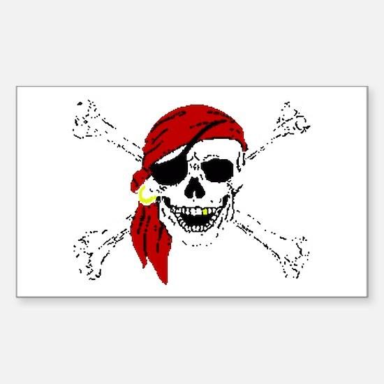 Pirate Skull Sticker (Rectangle)