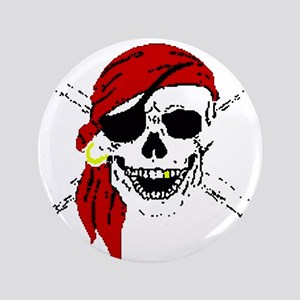 "Pirate Skull 3.5"" Button"