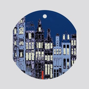 Amsterdam at Night Ornament (Round)