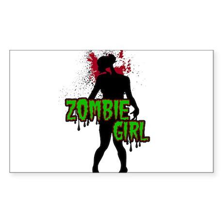 Zombie Girl Sticker (Rectangle)