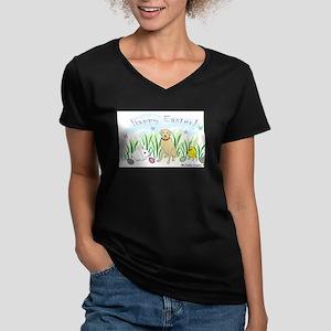 yellow lab Women's V-Neck Dark T-Shirt