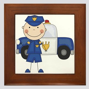 Stick Figure Police Officer Framed Tile