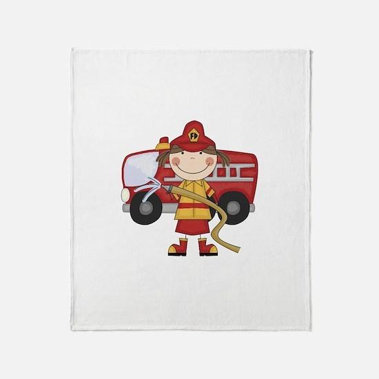 Female Firefighter Throw Blanket