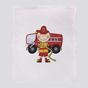 Male Firefighter Throw Blanket