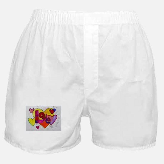 Love Patchwork Hearts Glitter Boxer Shorts