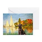 Regatta / Choc. Labrador Greeting Cards (Pk of 10)