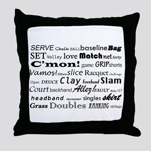 Tennis Words Throw Pillow