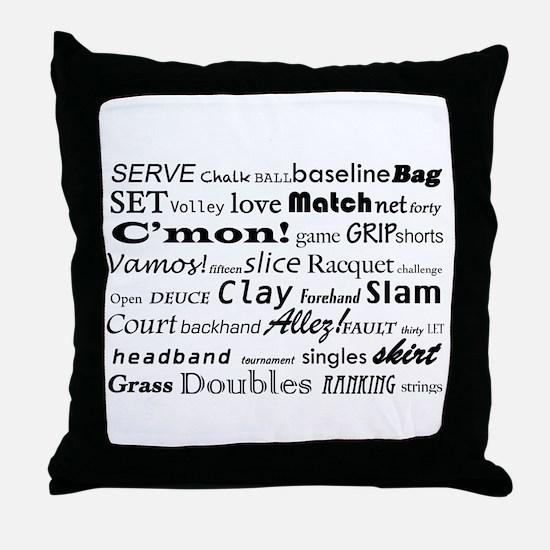 Tennis Words Throw Pillow