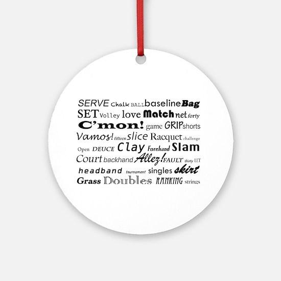 Tennis Words Ornament (Round)