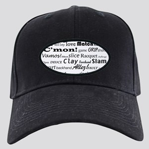 Tennis Words Black Cap