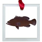 Warsaw Grouper Square Glass Ornament