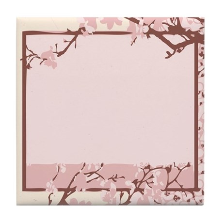 Pink Cherry Blossom Tile Coaster
