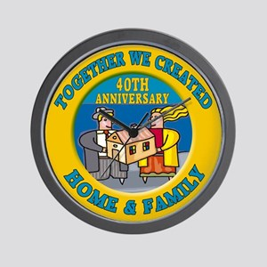 40th Wedding Anniversary Wall Clock