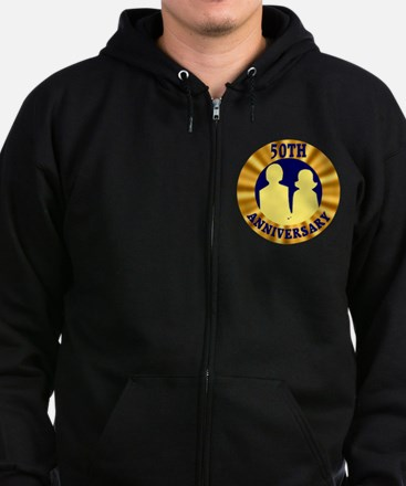 50th Wedding Anniversary Zip Hoodie (dark)
