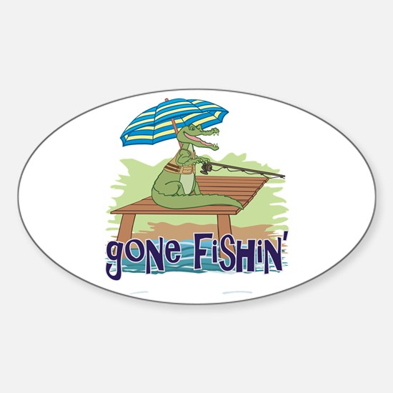 Gone Fishing Sticker (Oval)