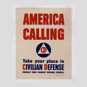 WWII POSTER AMERICA CALLING Throw Blanket