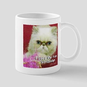 White Persian and Pink Mug
