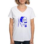 Jazz Drums Blue Women's V-Neck T-Shirt