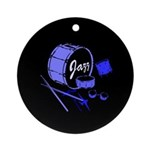 Jazz Drums Blue Ornament (Round)
