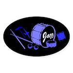 Jazz Drums Blue Sticker (Oval)