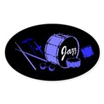 Jazz Drums Blue Sticker (Oval 10 pk)