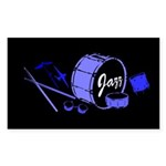 Jazz Drums Blue Sticker (Rectangle 10 pk)