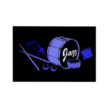 Jazz Drums Blue Rectangle Magnet (10 pack)