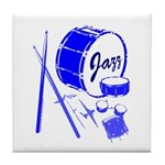 Jazz Drums Blue Tile Coaster