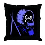 Jazz Drums Blue Throw Pillow