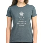 Keep Calm And Try Turning It Women's Dark T-Shirt