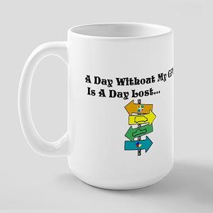 A Day Without GPS Large Mug