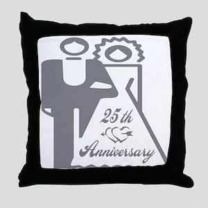 25th Wedding Anniversary Throw Pillow