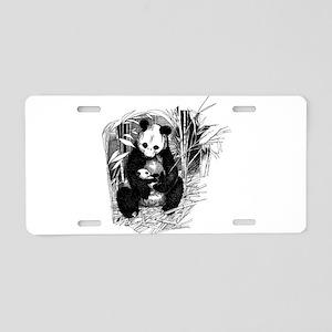 Panda and baby Aluminum License Plate