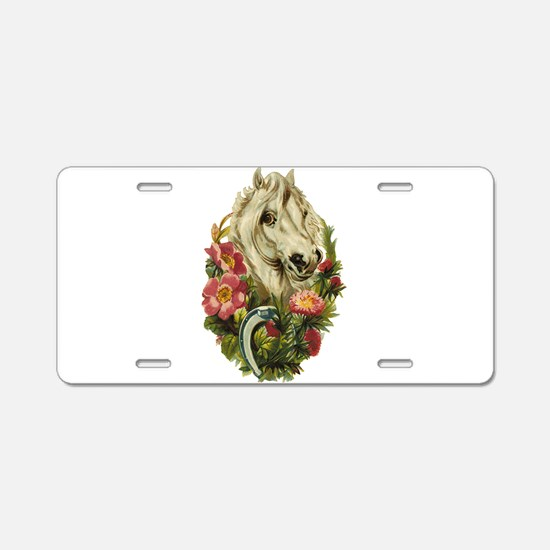 WHITE HORSE AND FLOWERS Aluminum License Plate