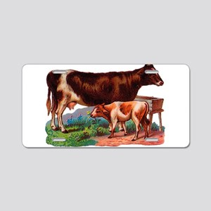 Cow and calf Aluminum License Plate