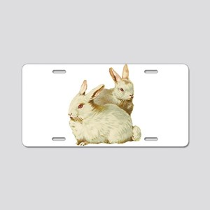 Two White Bunnys Aluminum License Plate