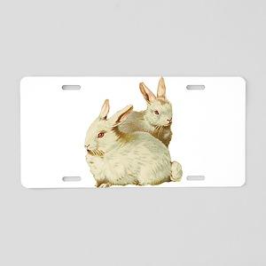 Two White Bunnys Aluminum License Plate