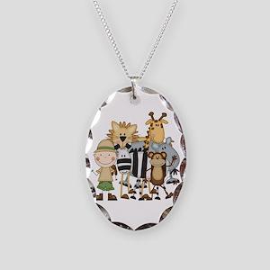 Boy on Safari Necklace Oval Charm