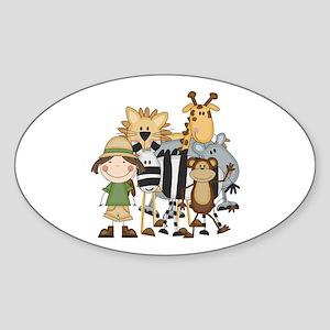 Girl on Safari Sticker (Oval)