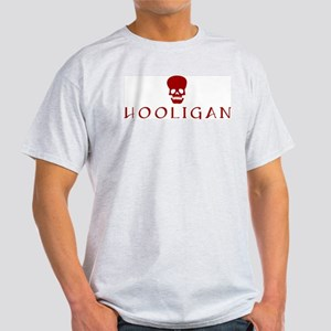 Hooligan Red Skull Ash Grey T-Shirt