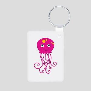 Pink Jellyfish Aluminum Photo Keychain