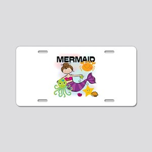 Brunette Mermaid Aluminum License Plate