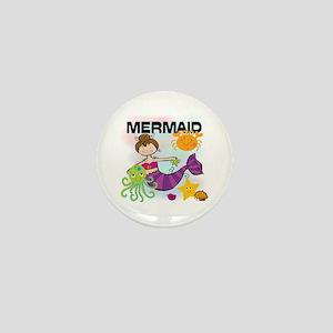 Brunette Mermaid Mini Button